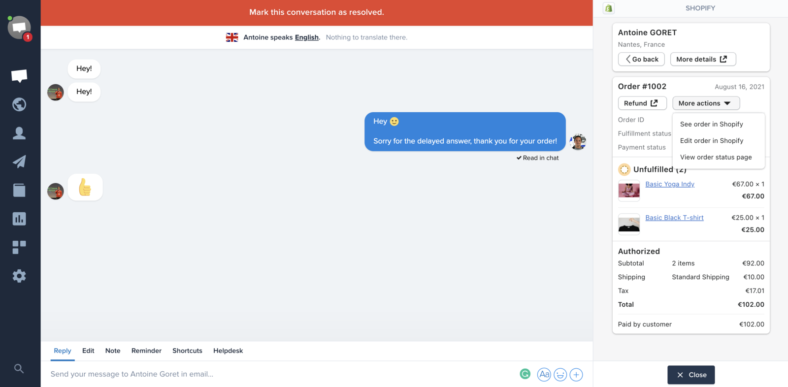 Example of a conversation between a Shopify store and a customer