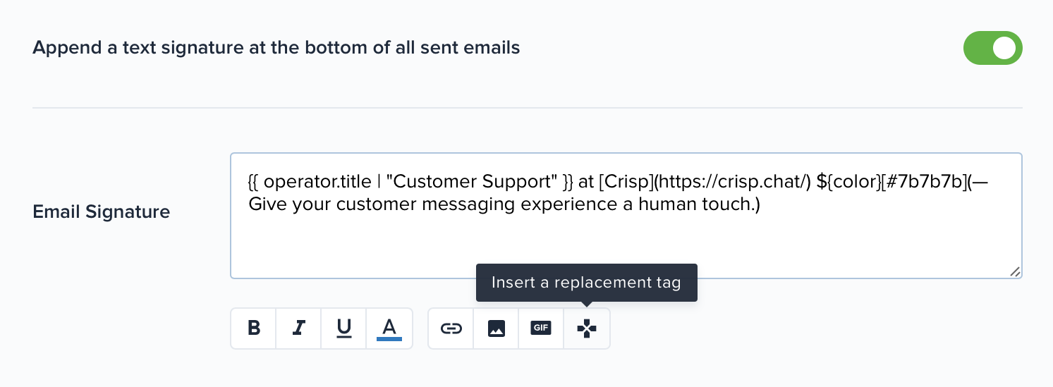 Signatures can be configured from your website settings