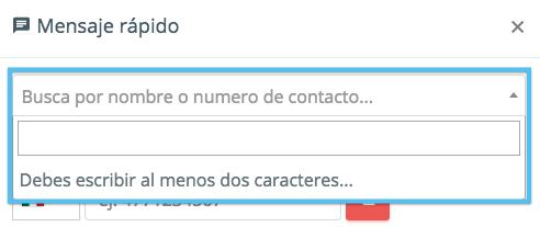 En caso de tener una lista de contactos previamente guardada, puedes escribir el nombre de la persona y seleccionarlo para enviar el mensaje rápido al número relacionado con el nombre.