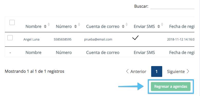 Una vez importada la información podrás tener una vista previa de tus contactos dentro de la agenda. Da clic en el botón regresar a Agendas para seguir con tu envío.