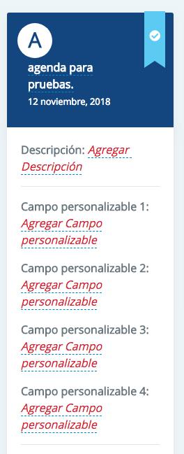 Puedes agregar una descripción a tu agenda y personalizar 4 campos con la información que vas a brindar. Por ejemplo: fechas, lugares y horario, folio, etc. SMS Masivos se acopla a lo que necesites.