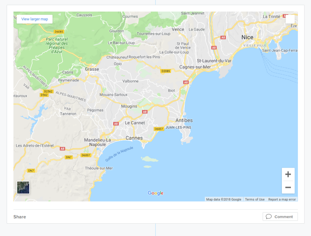 Sample of an embedded Google map on Sutori. You can interact with the map like on the site itself.