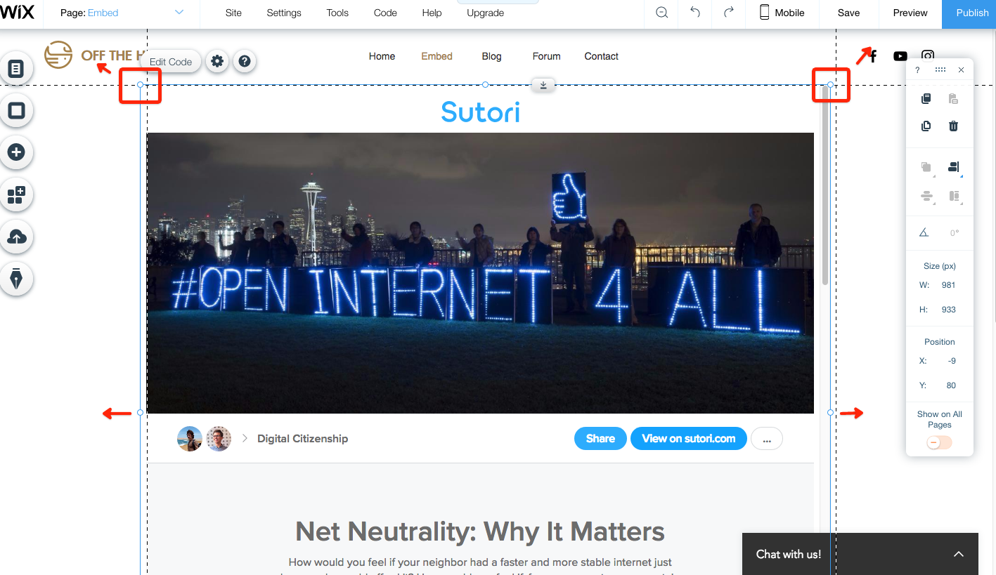 Sutori embedded on Wix