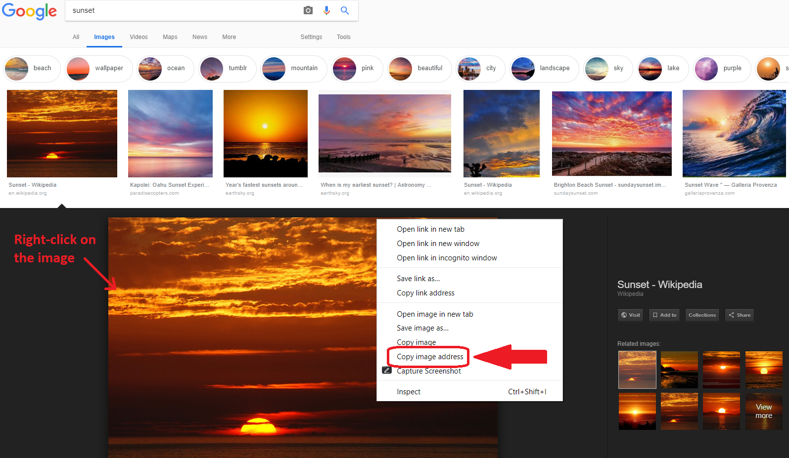 On Google Images, right-click on the image after selecting one and click on 'Copy image address'. You can then paste this link into an image item on Sutori