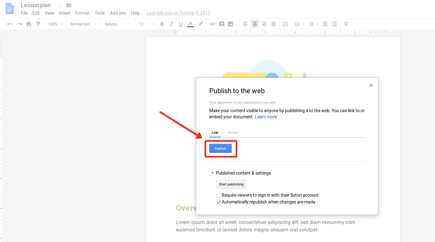 2. A box opens up. Click on 'Publish'.
