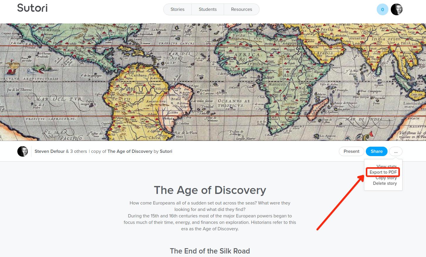 Primer paso: haz clic en 'Exportar a PDF'.