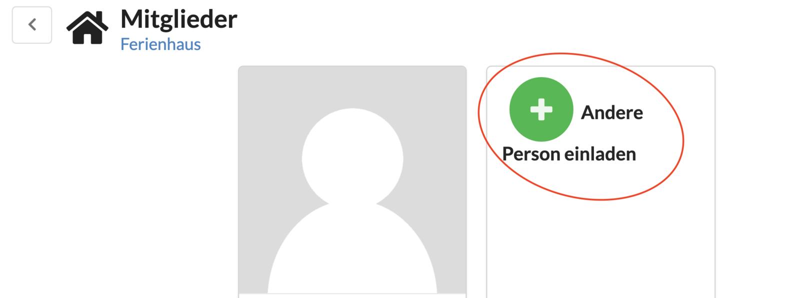"""Funktion """"Andere Person einladen"""" aufrufen"""
