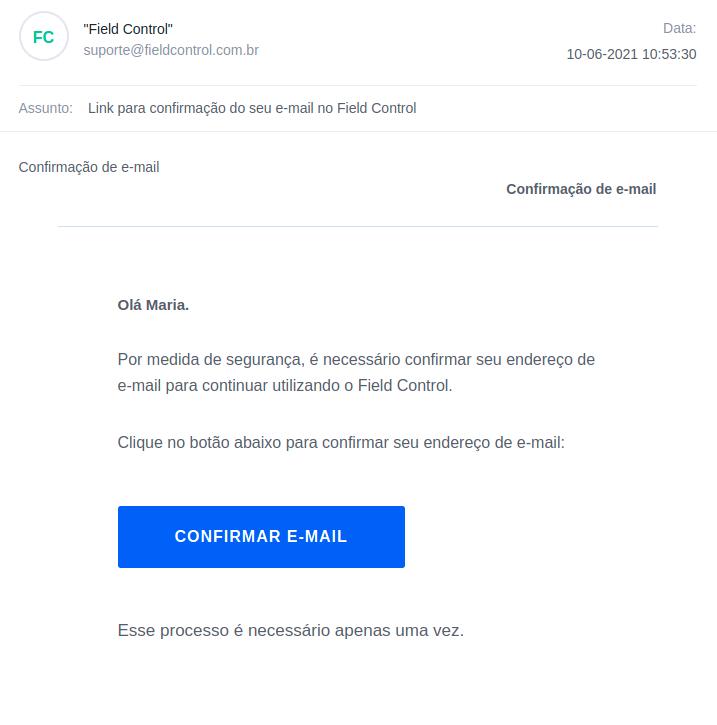 E-mail de verificação que será enviado