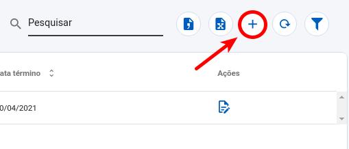 """Clique no botão """"+"""" para criar uma Ausência"""