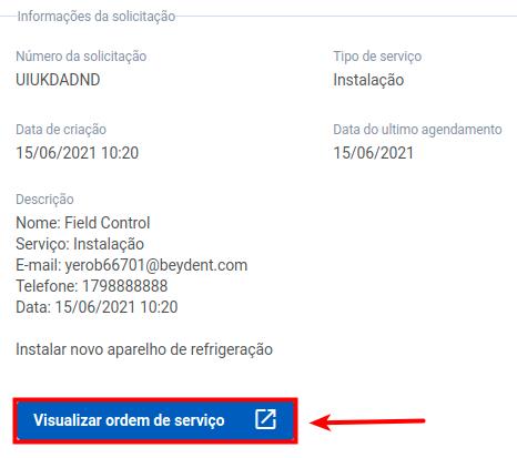 """Clique em """"Visualizar a ordem de serviço"""""""