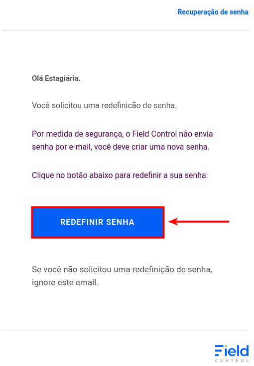 E-mail para recuperação de senha, clique no local indicado pela seta