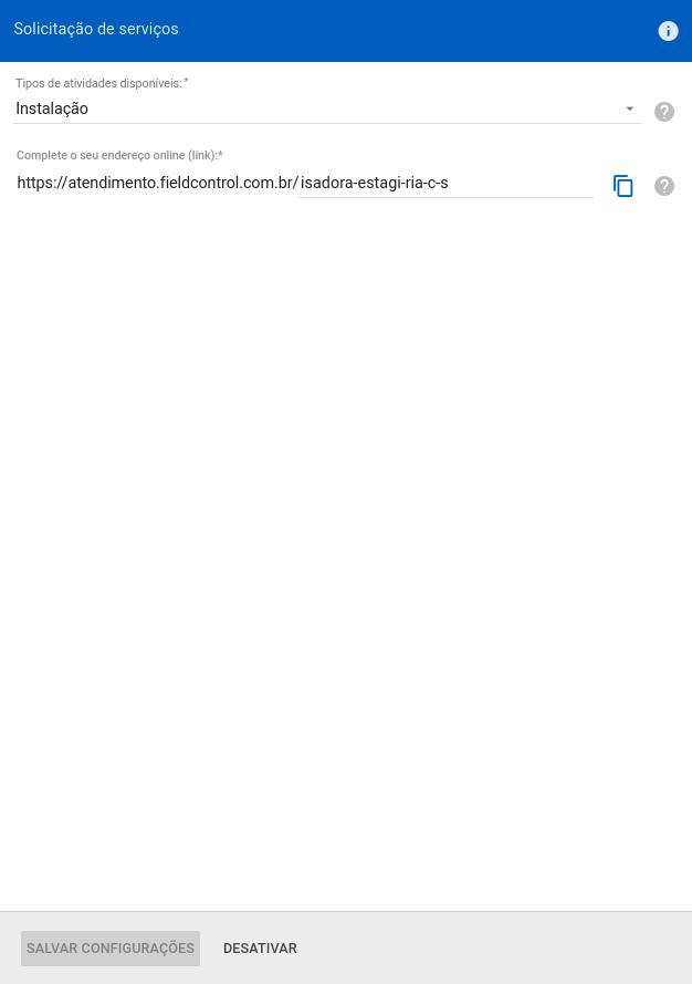 Configurando link de Solicitações