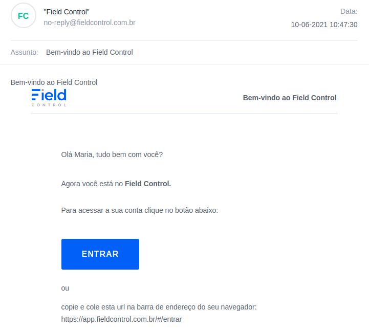 E-mail que será enviado para o novo usuário cadastrado