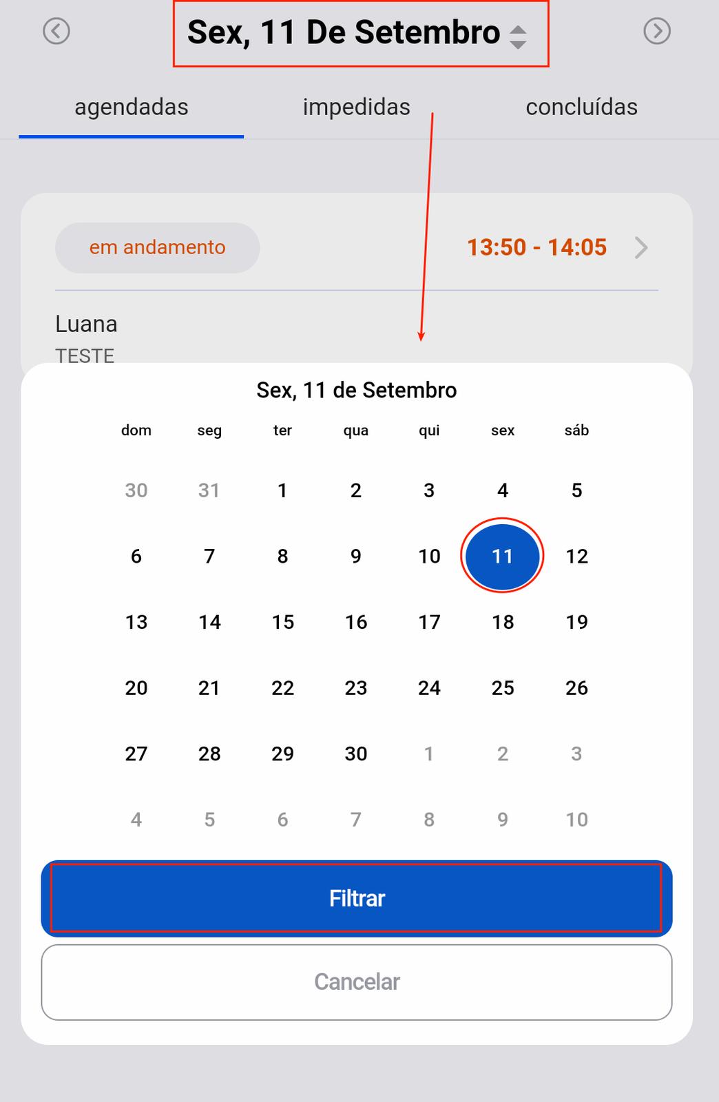 Usar o Filtro de datas para selecionar o dia que quer visualizar