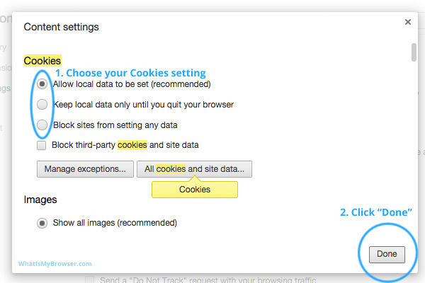 Enable cookies for Chrome web browser