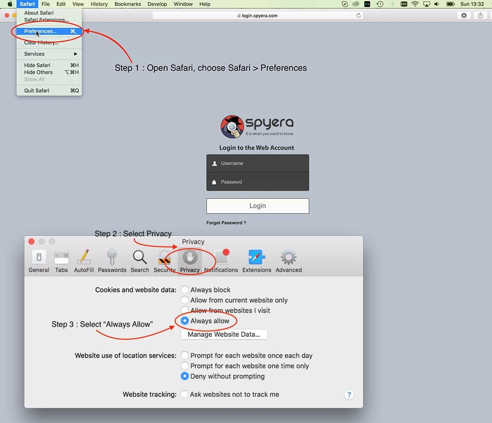 Enable cookies for Safari browser on Mac