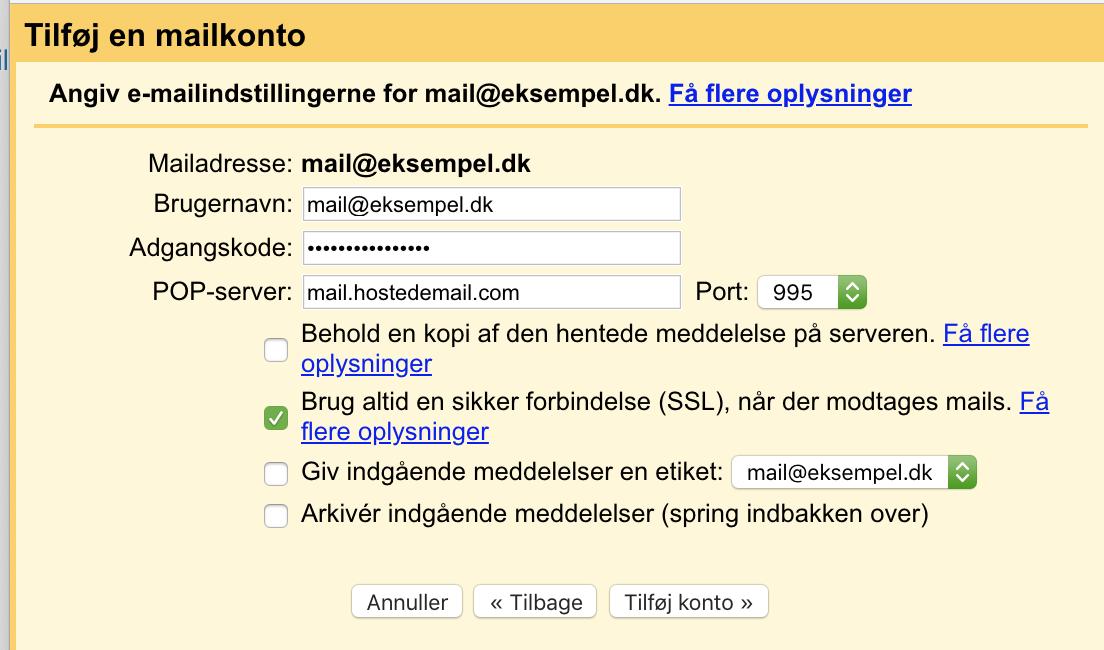 Mailopsætning - Gmail.com (POP3).