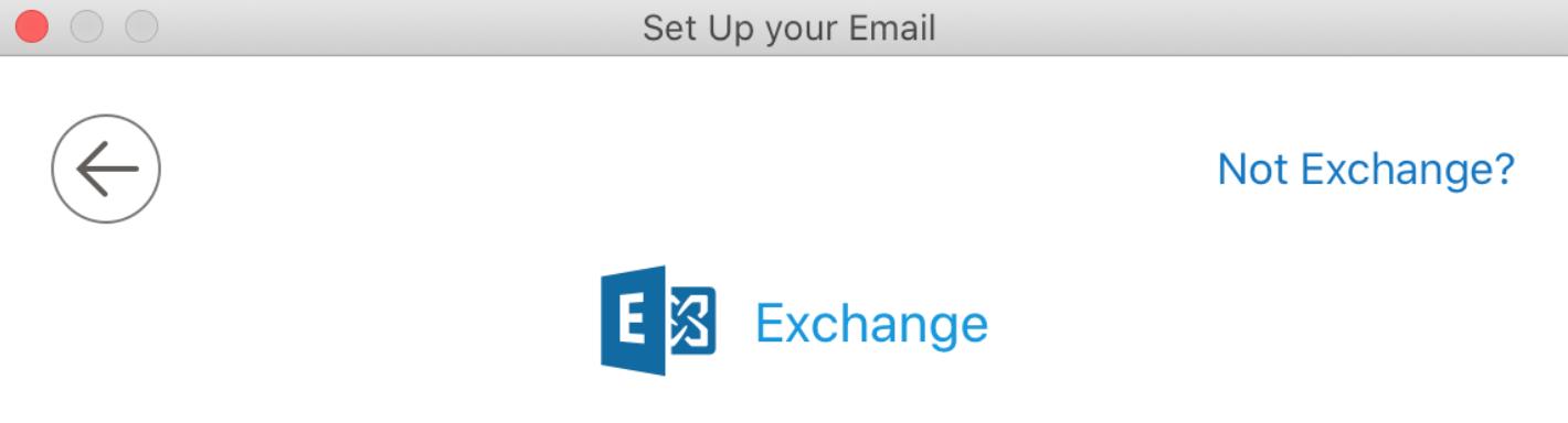 Tryk på 'Not Exchange' i hjørnet, hvis den viser dette vindue.