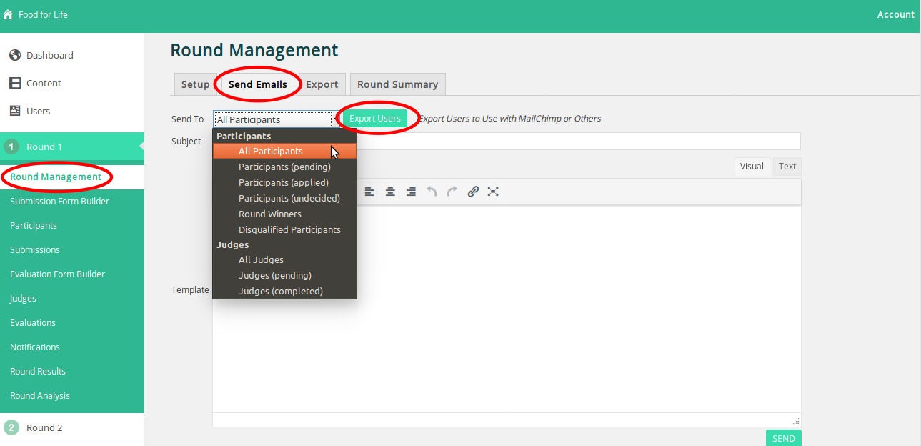 Choose the type of user you need to export and click on Export Users.