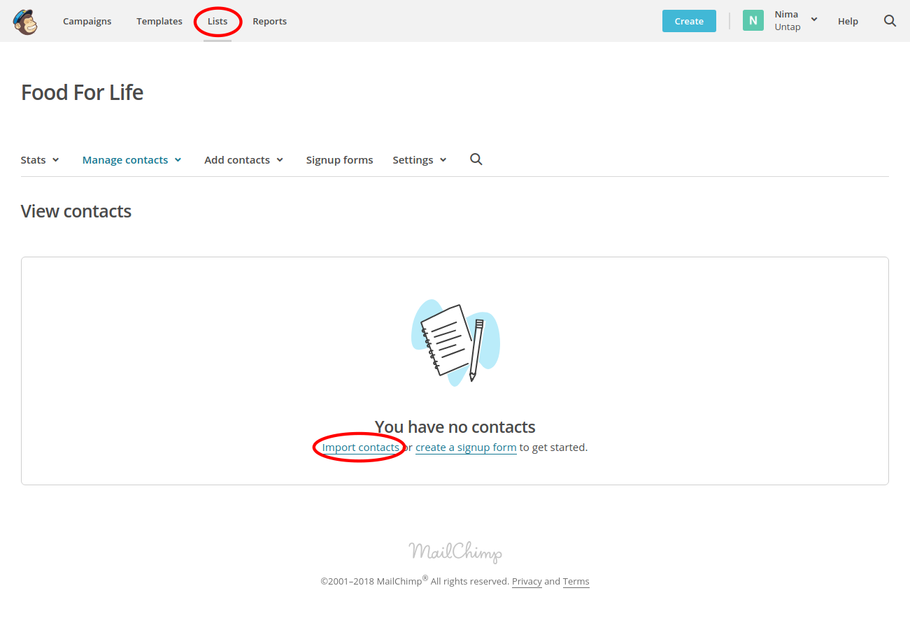 Choose your list and click on Import contacts.