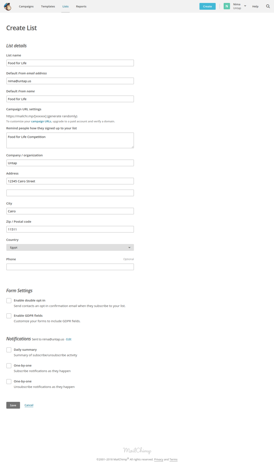 Create a new list by filling out the information in this form. Click on Save.