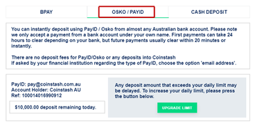 """Step 2: Select the """"OSKO/PAYID"""" tab"""