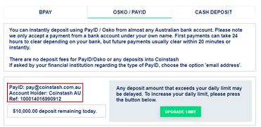 Step 3: OSKO/PAYID details