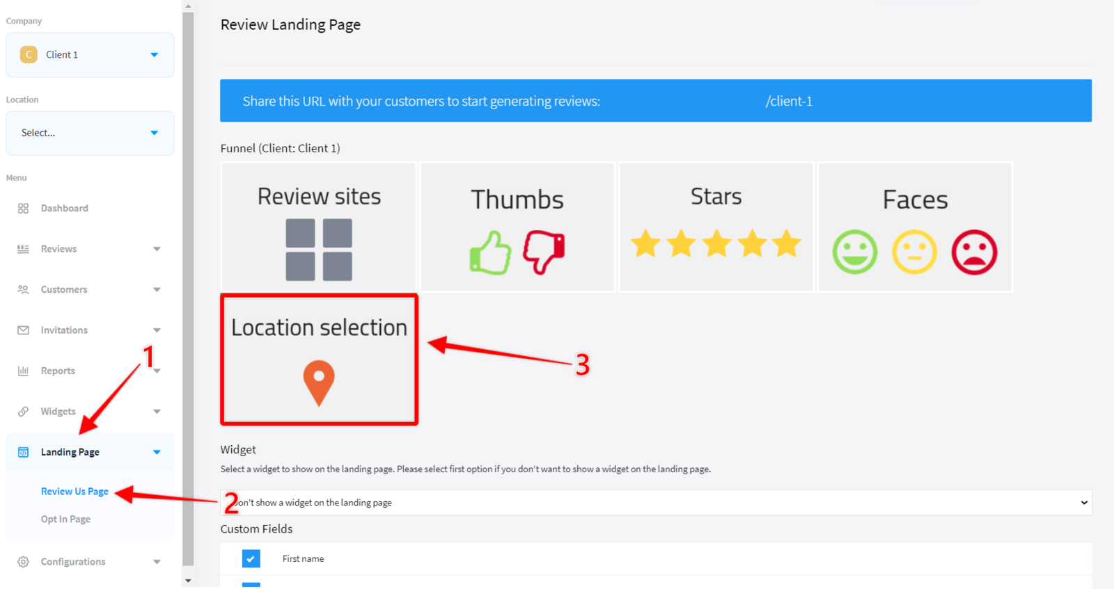 Location selection funnel