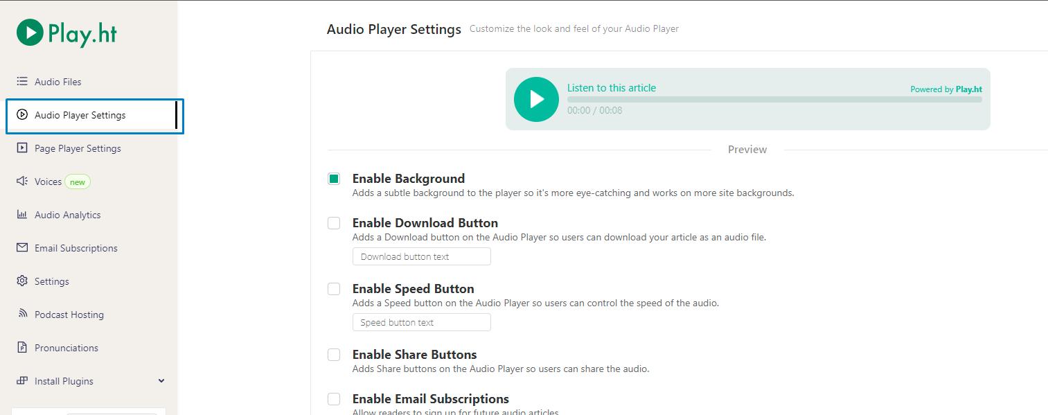 Audio Player Settings
