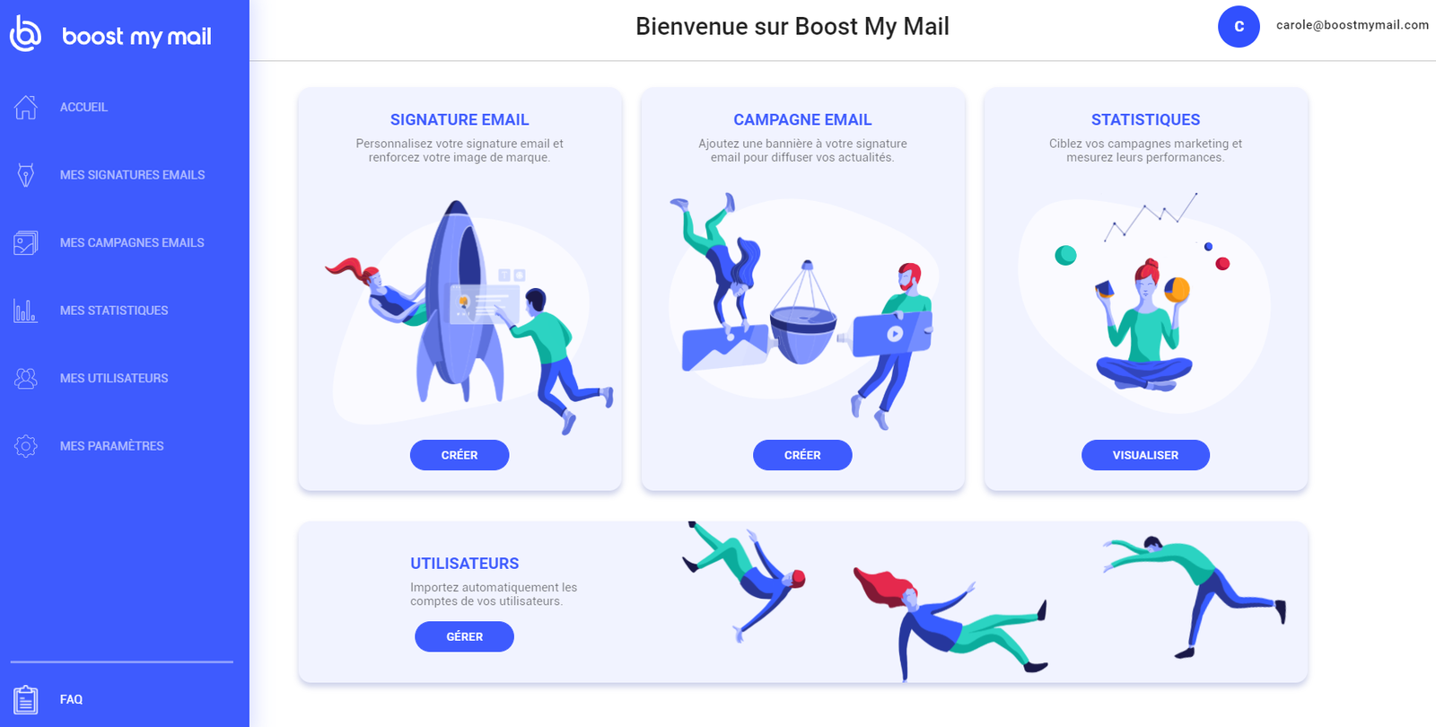 Home page de Boost My Mail