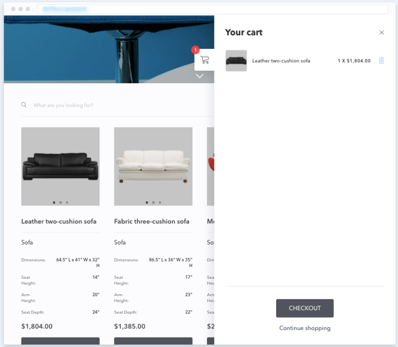 This is how visitors will see the cart preview on your website