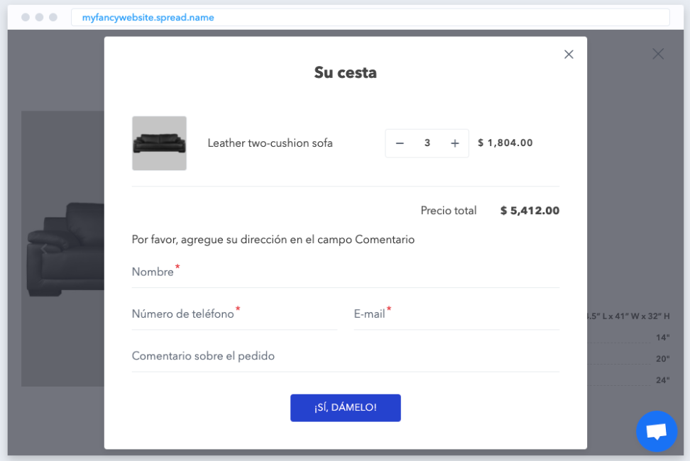The customized order form in Spanish
