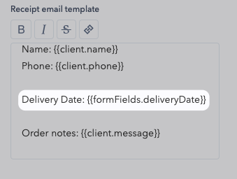 Add the replacing tag to the receipt email template