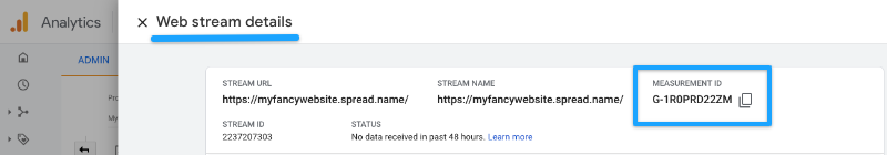 You can find your Analitics ID in the Web Stream Details
