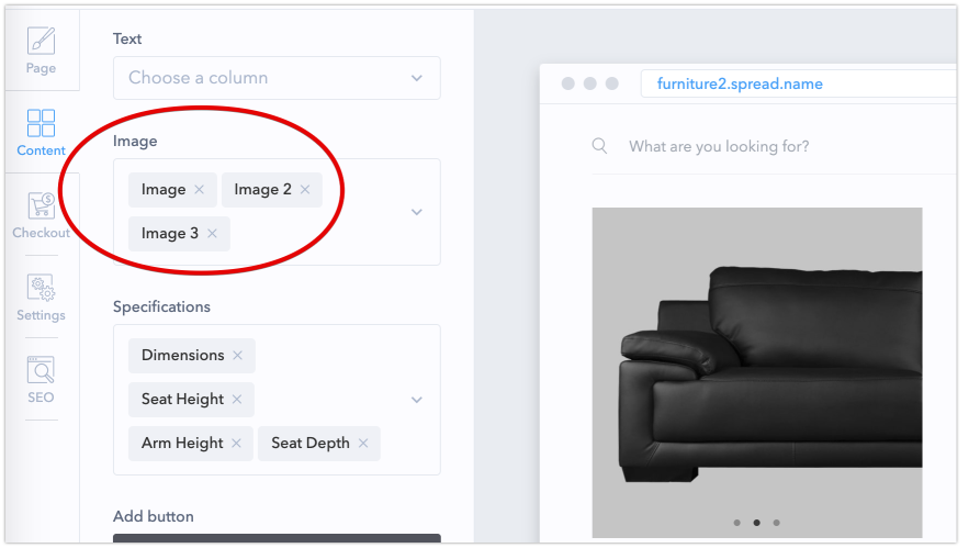 You can configure image column mapping on the Content tab