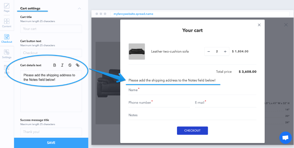 You can add your own text to the cart details