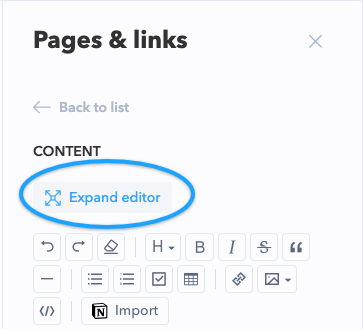 Expand Editor by clicking the button