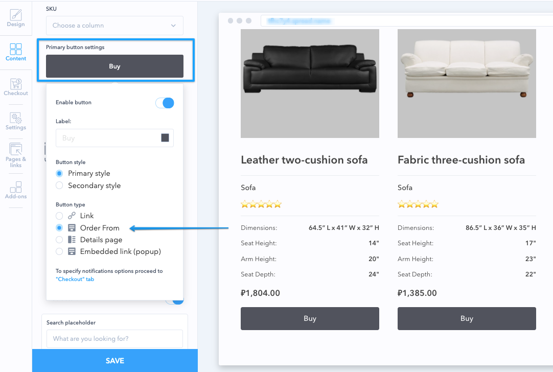 Enable the order form and cart in your Content Tab -> Button settings