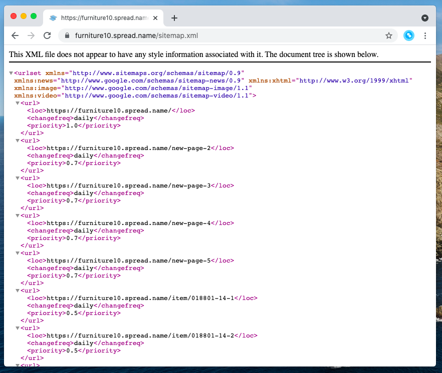 This XML file is your sitemap