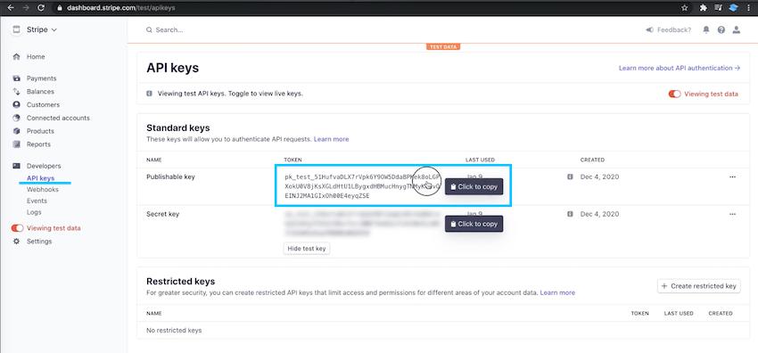 Click to copy your Publishable key