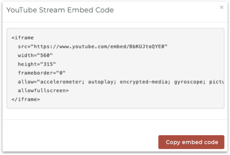 YouTube embed code example