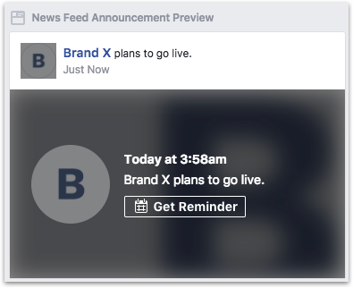 Example notification before going live
