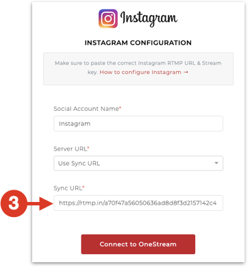Paste Sync URL copied from Instafeed