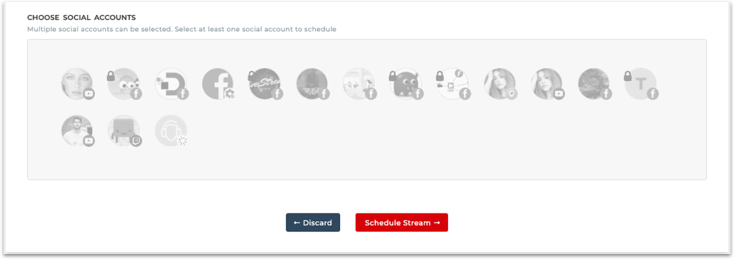 Select social accounts