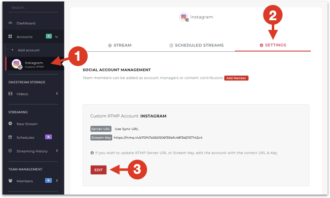 Steps to edit Instagram social account