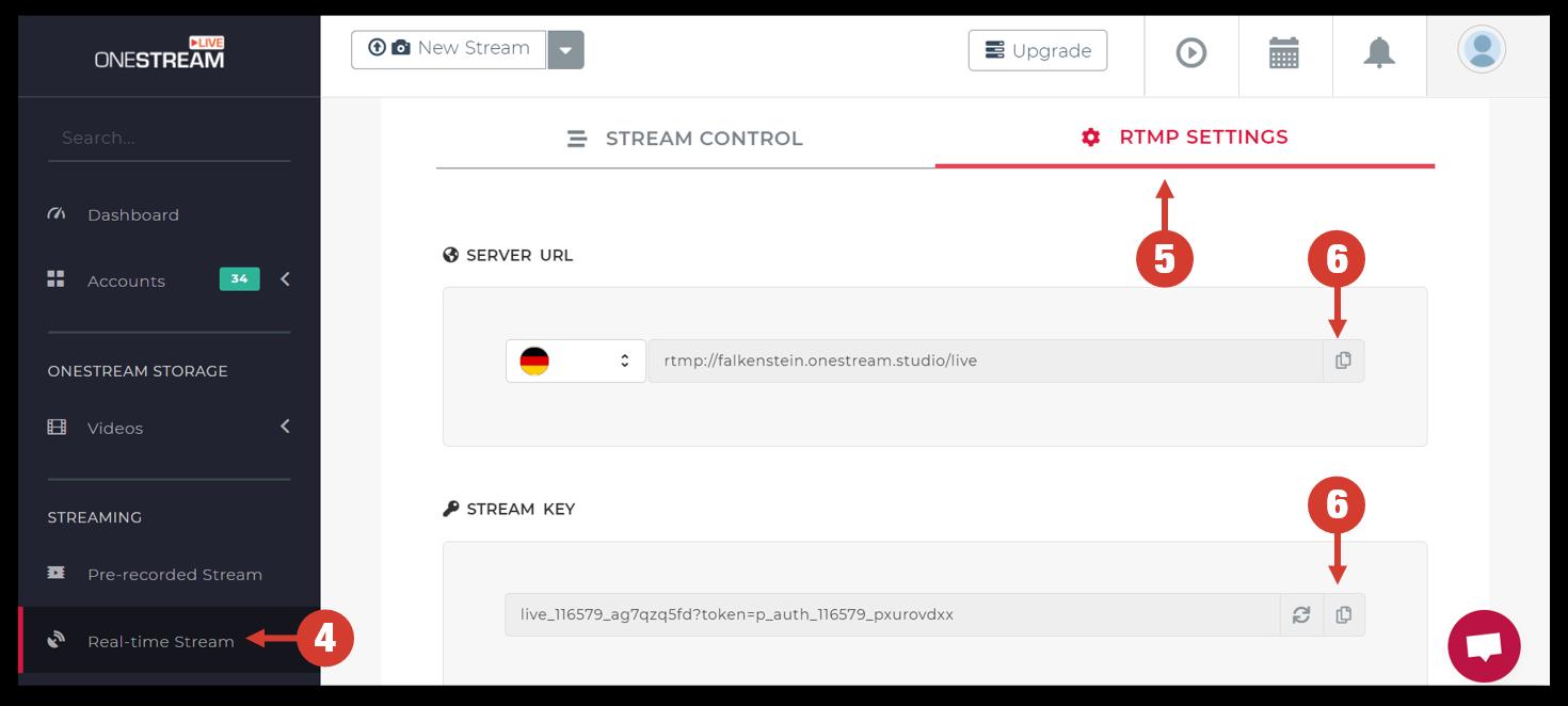 OneStream Live's RTMP Settings