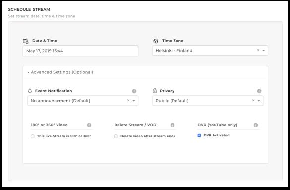 Setting schedule & advanced settings