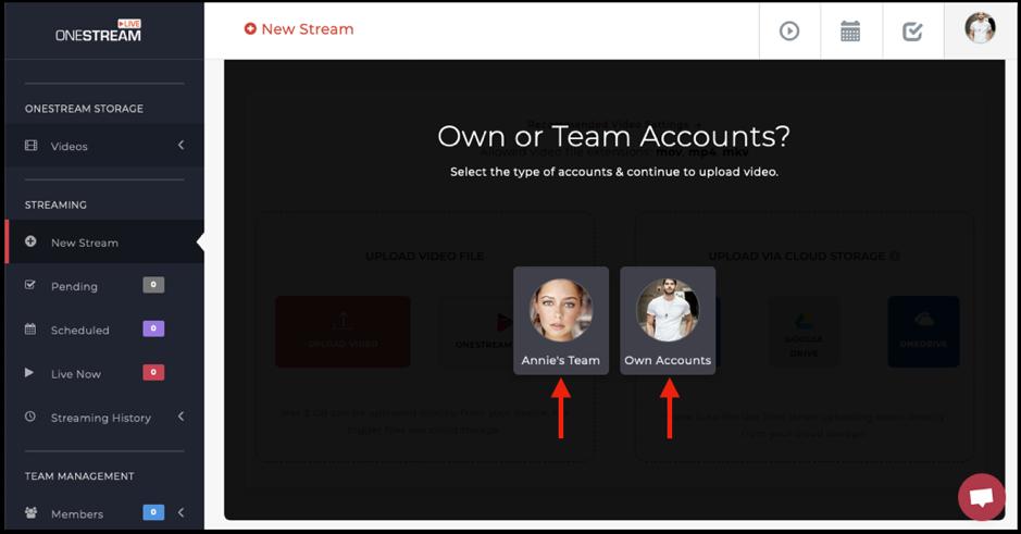 Video upload options for team member