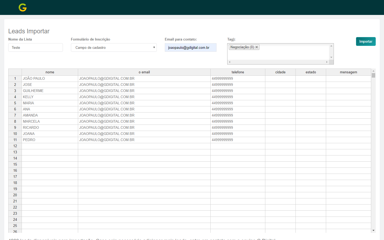 Colar lista de leads na planilha de importação na plataforma