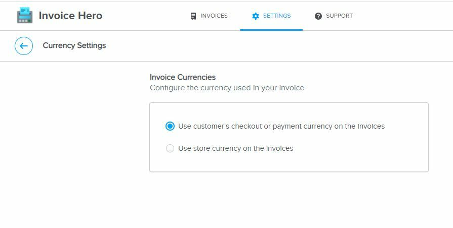 currency settings